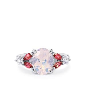 Rio Grande Lavender Quartz, Pink Tourmaline Ring with White Topaz in Sterling Silver 2.82cts