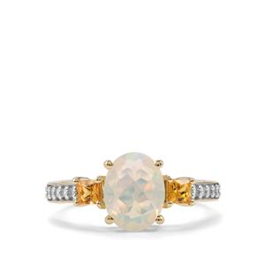 Ethiopian Opal, Songea Yellow Sapphire Ring with White Zircon in 10K Gold 1.46cts