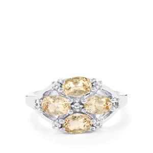 Champagne Danburite & White Topaz Sterling Silver Ring ATGW 1.92cts