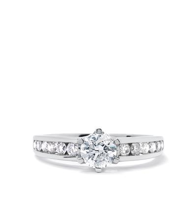 DIAMOND 18K WHITE GOLD RING 0.75CT