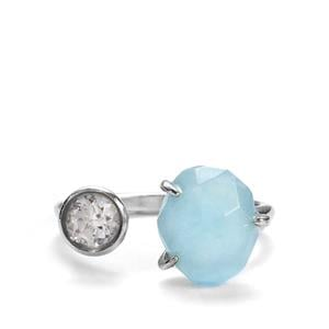 Espirito Santo Aquamarine Ring with Prasiolite in Sterling Silver 4.85cts