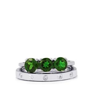 Chrome Diopside Set of 2 Rings with White Zircon in Sterling Silver 1.87cts