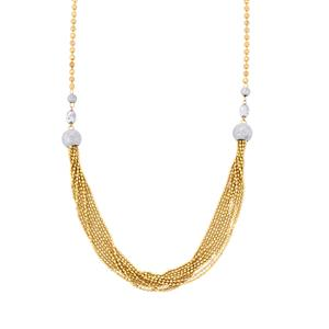 "18"" Two Tone Gold Plated Altro Diamond Cut Ball Necklace 12.75g"