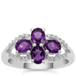 Zambian Amethyst Ring in Sterling Silver 1.25cts