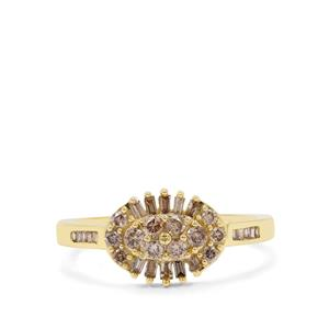 Cape Champagne Diamond Ring in 9K Gold 0.51ct