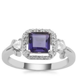 Bengal Iolite Ring with White Zircon in Sterling Silver 1.30cts