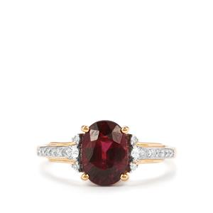 Malawi Garnet Ring with Diamond in 18K Gold 2.74cts