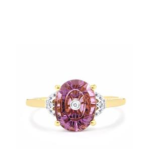Lehrer TorusRing Ametista Amethyst Ring with Diamond in 10K Gold 1.78cts