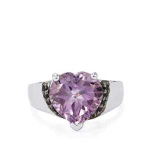 Rose De France Amethyst & Black Spinel Sterling Silver Ring ATGW 7.12cts