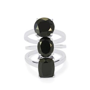 Black Spinel Set of 3 Rings in Sterling Silver 11.51cts