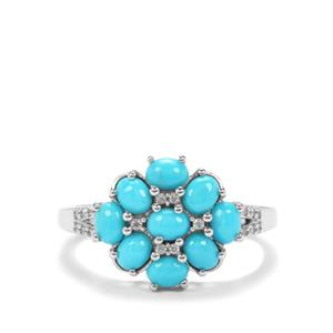 Sleeping Beauty Turquoise Ring with White Zircon in Platinum Plated Sterling Silver 1.45cts