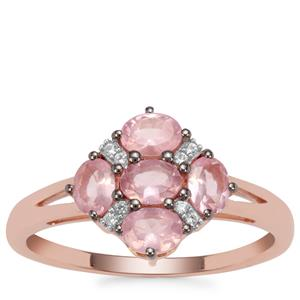 Mozambique Pink Spinel Ring with White Zircon in 9K Rose Gold 0.97ct
