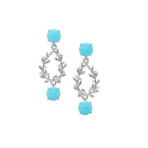 Sleeping Beauty Turquoise Earrings with White Zircon in Sterling Silver 4.90cts