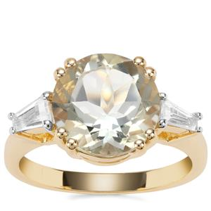 Prasiolite Ring with White Topaz in Gold Plated Sterling Silver 4.94cts