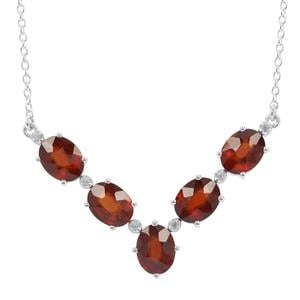 Gooseberry Grossular Garnet & White Zircon Sterling Silver Necklace ATGW 10.72cts