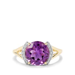 Moroccan Amethyst & White Zircon 9K Gold Ring ATGW 3.40cts