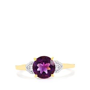 Moroccan Amethyst & Diamond 9K Gold Ring ATGW 1.73cts