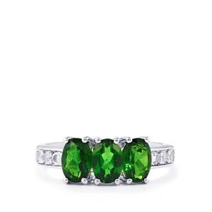 Chrome Diopside & White Topaz Sterling Silver Ring ATGW 2.28cts