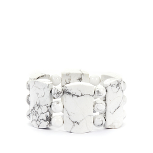 White Howlite Stretchable Bracelet 829cts