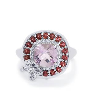 Pink Amethyst, Rajasthan Garnet & White Topaz Sterling Silver Ring ATGW 2.76cts