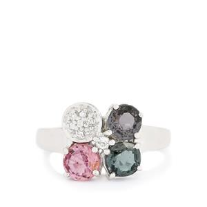 Burmese Multi-Color Spinel & White Topaz Sterling Silver Ring ATGW 2.50cts
