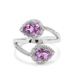 Moroccan Amethyst & White Zircon Sterling Silver Ring ATGW 1.31cts