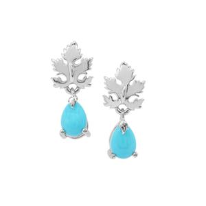 Sleeping Beauty Turquoise Leaf Earrings in Sterling Silver 1.38cts