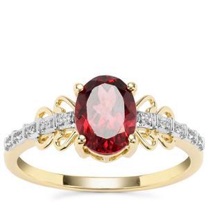 Morogoro Garnet Ring with White Zircon in 9K Gold 1.65cts