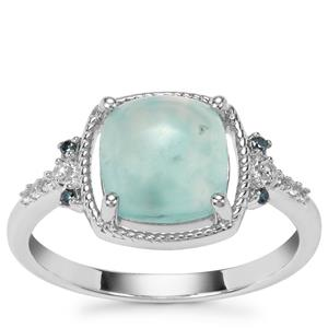 Aquaprase™, White Zircon Ring with Blue Diamond in Sterling Silver 2.31cts