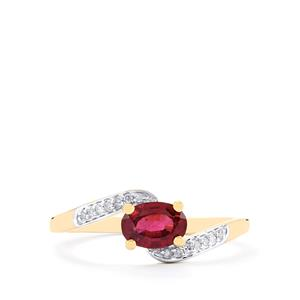 Comeria Garnet & Diamond 10K Gold Ring ATGW 0.90cts