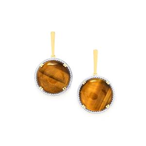 Tiger's Eye Earrings in Gold Plated Sterling Silver 20.77cts