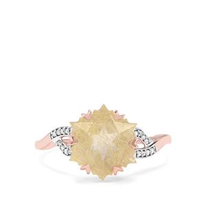 Wobito Snowflake Cut Bahia Rutilite & Diamond 9K Rose Gold Ring ATGW 4.26cts