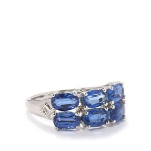 Himalayan Kyanite & White Topaz Sterling Silver Ring ATGW 3.97cts