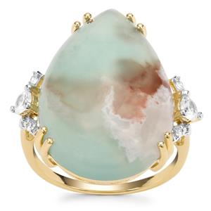 Aquaprase™ Ring with White Zircon in 9K Gold 13.36cts