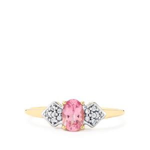 Pink Spinel Ring with White Zircon in 10k Gold 0.57cts