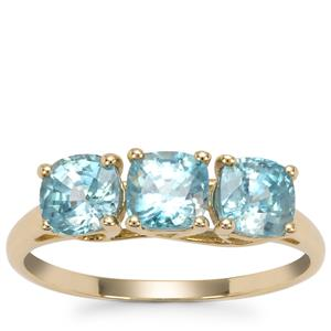 Ratanakiri Blue Zircon Ring in 9K Gold 2.96cts
