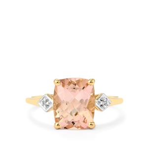 Mutala Morganite Ring with Diamond in 10k Gold 2.65cts