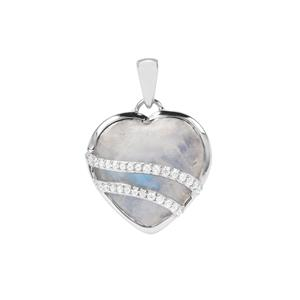 Rainbow Moonstone Heart Pendant with White Zircon in Sterling Silver 13.44cts