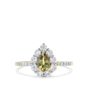 Ambanja Demantoid Garnet & White Zircon 9K Gold Ring ATGW 1.67cts