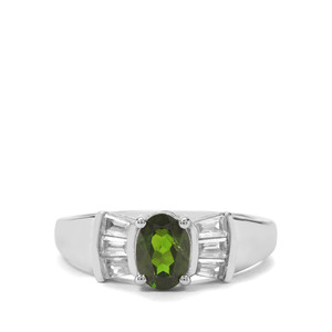Chrome Diopside & White Zircon Sterling Silver Ring ATGW 1.39cts
