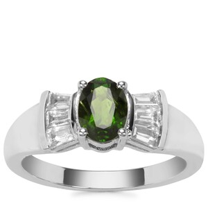 Chrome Diopside Ring with White Zircon in Sterling Silver 1.39cts