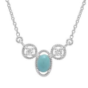 Sleeping Beauty Turquoise & White Zircon Sterling Silver Necklace ATGW 1.23cts