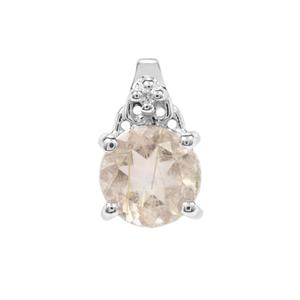 Bahia Rutilite Pendant with White Zircon in Sterling Silver 1.61cts