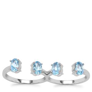 Swiss Blue Topaz Ring in Sterling Silver 2.14cts