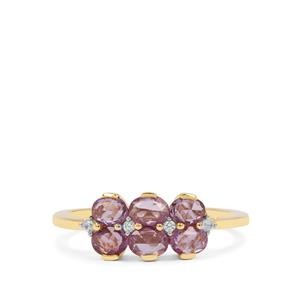 Rose Cut Purple Sapphire Ring with Ring Zircon in 9K Gold 1cts