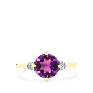 Moroccan Amethyst & Diamond 9K Gold Ring ATGW 1.79cts