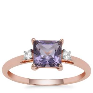 Montezuma Blue Quartz Ring with White Zircon in 9K Rose Gold 1.05cts