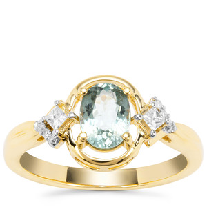 Cuprian Tourmaline Ring with Diamond in 18K Gold 0.92ct