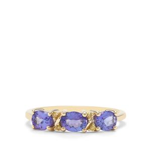 Tanzanite Ring with Yellow Diamond in 9K Gold 1.16cts