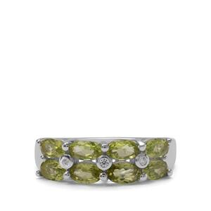Red Dragon Peridot & White Zircon Sterling Silver Ring ATGW 2cts